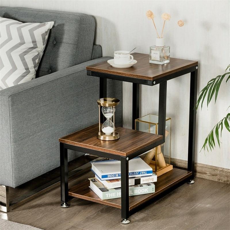 Table d'appoint de salon à 3 niveaux avec étagère de rangement salon Chic escalier Design Table de Console d'appoint polyvalente HW61403