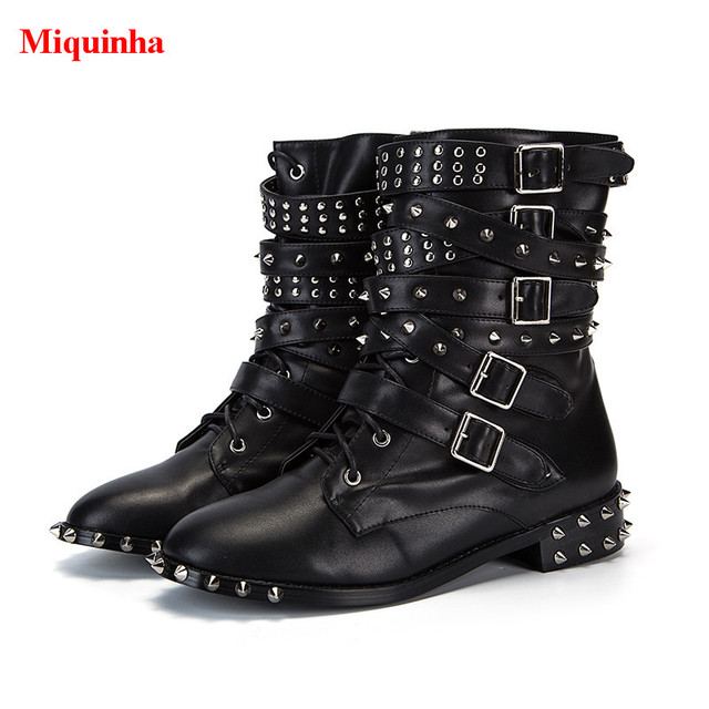 4b78bdd154b Miquinha Cool Women Motocycle Boots Spikes Studded Multi Belt Buckle Ankle  Boots Black Soft Leather Stacked Heels Bota Feminina