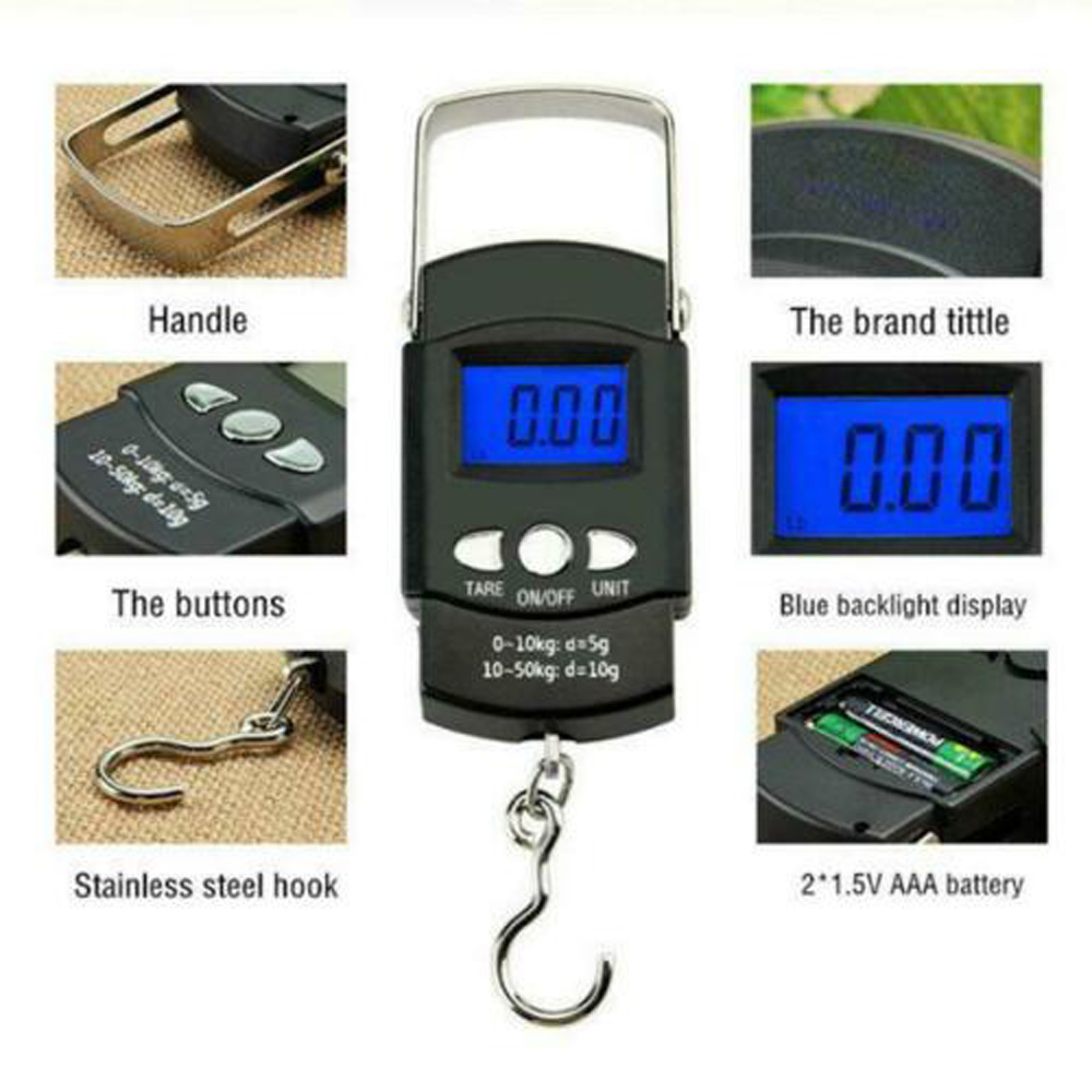 Backlight Portable Scale LCD Scaling Accessories 50KG Precision Electronic Hand-held Plastics Home Outdoor Useful(China)
