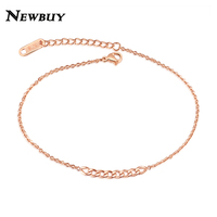 NEWBUY 2017 Summer Collection Fashion Women Stainless Steel Anklets Rose Gold-Color Simple Design Female Foot Charm Bracelet