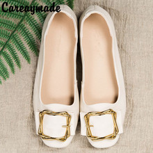 Careaymade-2018 New shoes, candy flat bottomed maternity shoes, shallow leather low heel women's shoes, square head shoes