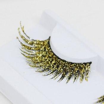 YOKPN Glitter False Eyelashes Fashion Shimmery Exaggerated Fake Eyelashes Art Stage Modeling Performance Makeup Lashes 2 Style