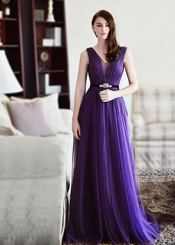 e67c5ad97e6 Gorgeous V-neck A-Line Long Prom Party Gown Sleeveless Sequin Purple Formal  Wear Bridesmaid Junior Gown