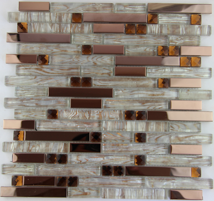 Fashion Stainless Steel Metal Mosaic Glass Tile Kitchen Backsplash Bathroom Shower Background Decorative Wall Paper Wholesale