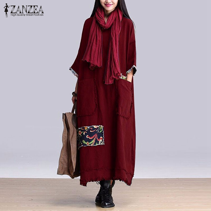 Zanzea mujeres vintage vestido elegante 2016 otoño empalme o Masajeadores  de cuello 3 4 manga casual sólido largo Maxi vestidos de gran tamaño e87e5a7ed43