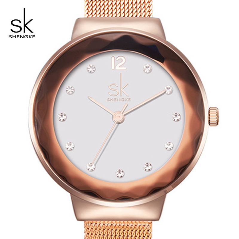 Shengke Watches Women Brand Luxury Rose Gold Wristwatch Ladies Steel Quartz Watch Relogio Feminino 2018 SK Female Clock #K0038 women fashion watches rose gold rhinestone leather strap ladies watch analog quartz wristwatch clocks hour gift relogio feminino
