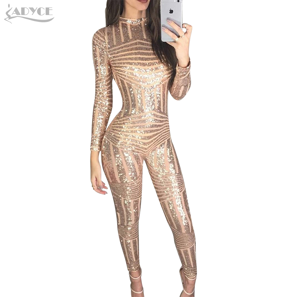 Adyce 2018 Chic Women Long Jumpsuits Sexy O Neck Sequins Long Sleeve Full Length Rompers ...