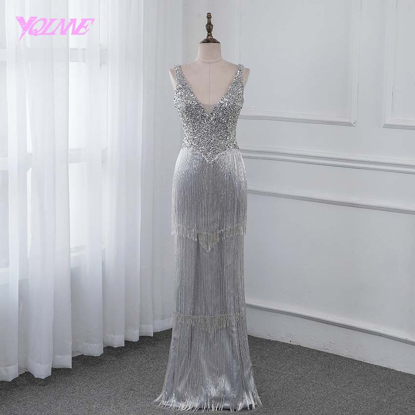 YQLNNE New 2019 Luxury Evening Dress Pageant Dresses V neck Beading Tassel Fashion Evening Gown Competition