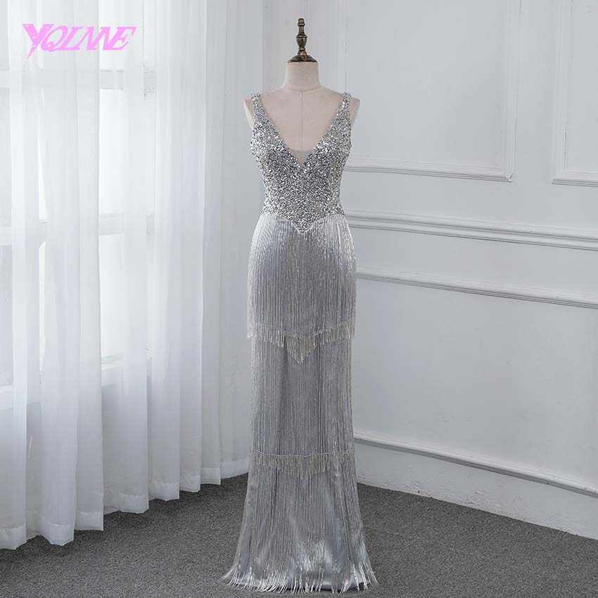 281d353be7c8 YQLNNE New 2019 Luxury Evening Dress Pageant Dresses V-neck Beading Tassel  Fashion Evening Gown