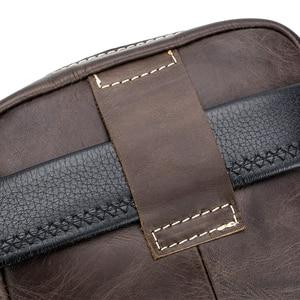 Image 5 - Bolsa de couro genuíno vintage masculina, bolsa de ombro com aba pequena de couro natural