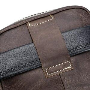 Image 5 - Sac à bandoulière en cuir véritable masculin, mini sac à bandoulière vintage masculin, sac à rabat, sac à bandoulière naturel
