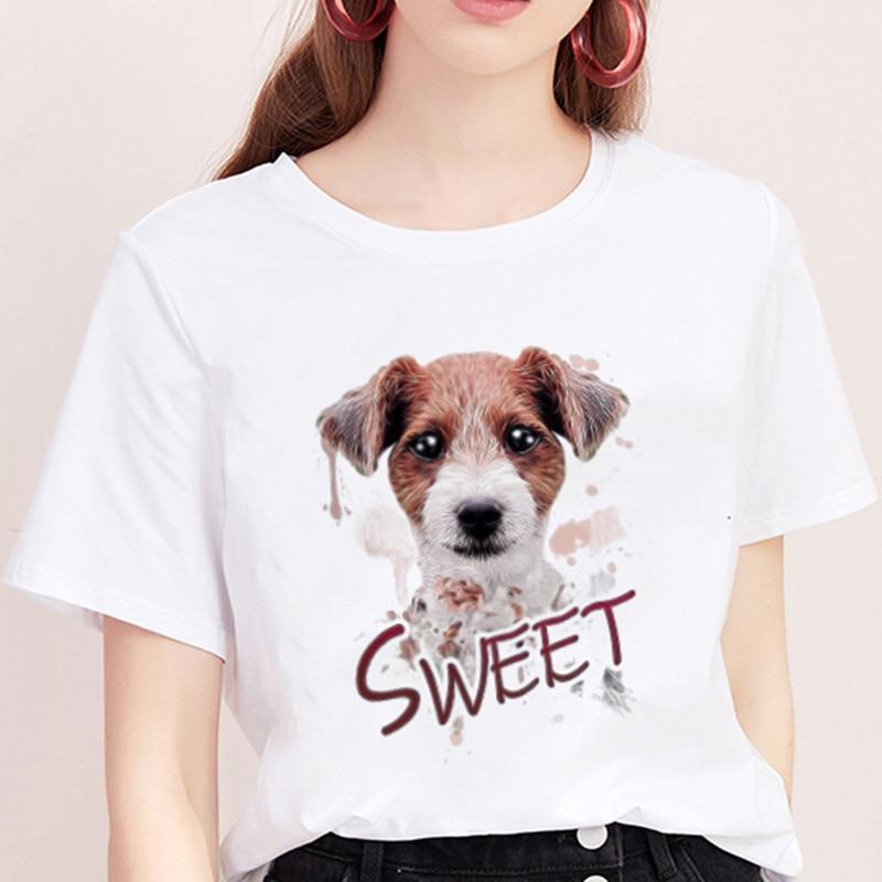 Summer 2019 New T-shirt Femme Cute Dog Sweet Print Harajuku T Shirt Women TShirt O-neck Short Sleeve White Tops Female Clothing