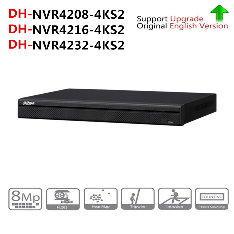DH NVR 4K Video Recorder NVR4208-4KS2 NVR4216-4KS2 NVR4232-4KS2 With 2SATA Interface Support H265 IP Camera aomway 700tvl hd 1 3 cmos fpv camera pal