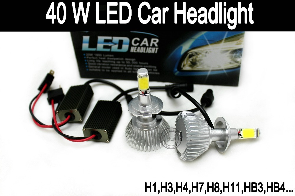 2PCS Free shipping TOP Chip H7 40W Auto car LED Headlamp/Headlight head lamp/FOG light ,H1,H3,H4,H7,H8,H11,HB3,HB4