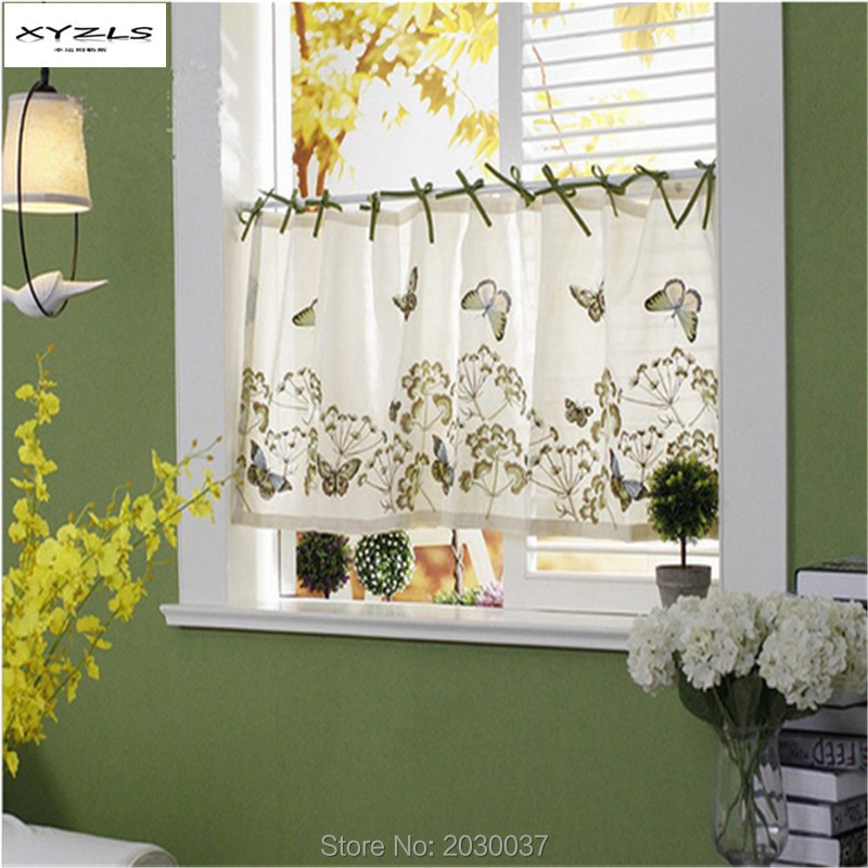XYZLS American Pastoral Embroidered Blinds Half Curtains For Living Room  Kitchen Curtains Coffee Window Screening Short
