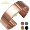 Pulsera de acero inoxidable Correa de reloj de correa de metal sólido oro rosa de oro de plata negro 16 18 20 22mm banda relojes de pulsera pulsera