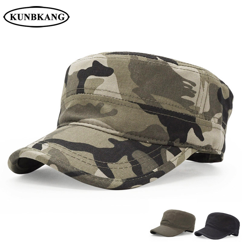 Mans Camouflage Flat-top Patrol Caps Army Green Military Soldier Visor Hats Top