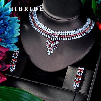 HIBRIDE Luxury White gold Color Red Cubic Zircon Pendant Women Jewelry Set For Bridal Party Accessories Jewelry Gifts N-930