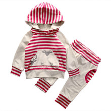 Warm Hooded 2pcs Striped Set Kids Baby Boy Girls Toddler Long Sleeve Pocket Tops Harem Pants Active Tracksuit Unisex Outfits