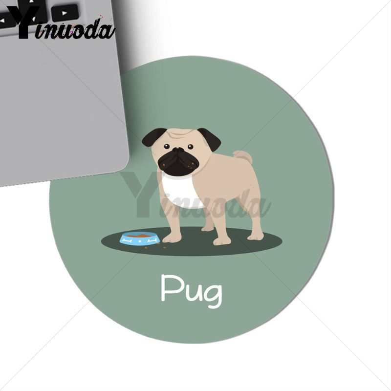 Yinuoda pug dog cartoon Computer Gaming Lockedge Mousemats Size for 200*200*2mm and 220*220*2mm round mousepad Game Mousepad