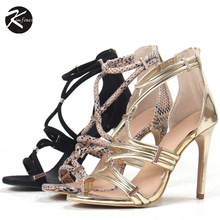 Kimfoxes Frauen Sommer High Heels Schuhe Sexy Goldene Schlange korn Dünne Fersen Dame Sandalen Offene spitze Frauen High Heels 37-41
