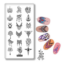 Valentines Day Nail Stamping Plates Love Heart Tower Mandala Flowers Design 12cm * 6cm for Nails DIY Art Template