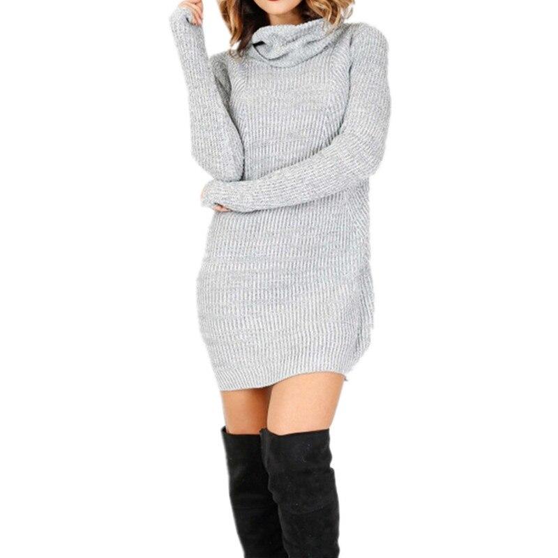 2017 Autumn Winter Women Dress High Quality Knitted Dresses Long Sleeve Turtleneck Dresses Stretch Sexy Dress