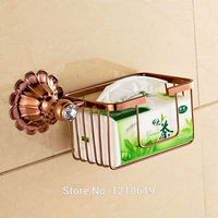 Newly Rose Gold Plate Bathroom Cosmetic Storage Rack Basket Crystal Commodity Shelf Holder Wall Mount