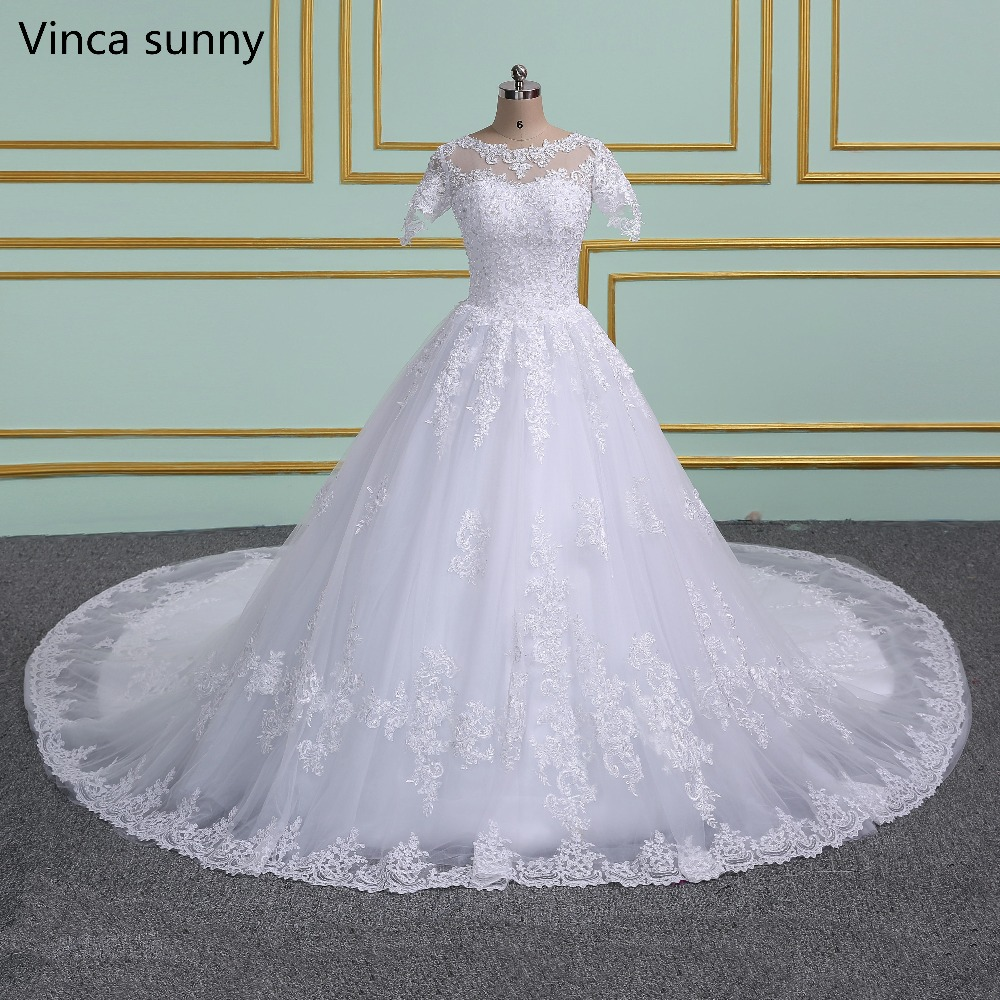 Luxury Princess Long train Short Sleeve Wedding dress Lace Ball Gown ...