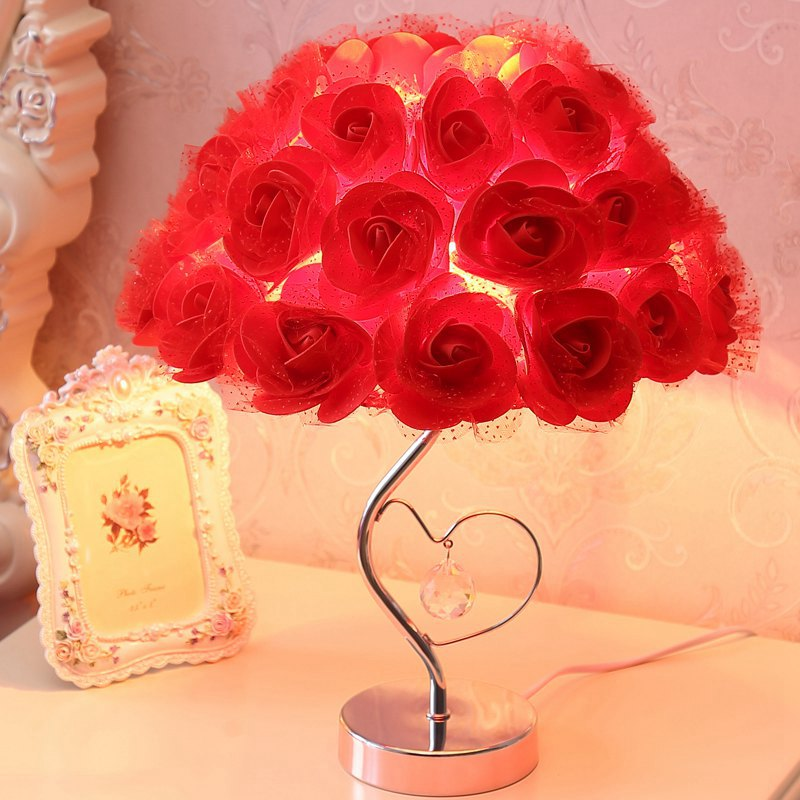 Modern Romantic Rose Wedding Bedroom Desk Lamp Fabric Flowers Creative Chrome Study Room Table Light Pink/Red Crystal Table Lamp romantic heart shaped 19 soap rose flowers w bear doll red pink beige