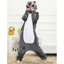 Animal Gray Wolf Pajamas Pyjama Adult Onesie Sleepsuit Sleepwear Halloween Costume Unisex Cartoon