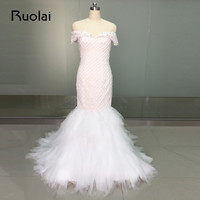 Real Picture Africa Sexy Wedding Dresses Luxury Beads Crystal Mermaid Wedding Gown Tulle Off the Shoulder Dubai Bridal Gown FW63