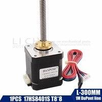 3d print motor nema17 stepper motor with T8 screw lead 8mm 300mm 42 motor 42BYGH mill cut cnc engraving machine 17HS8401 1pcs