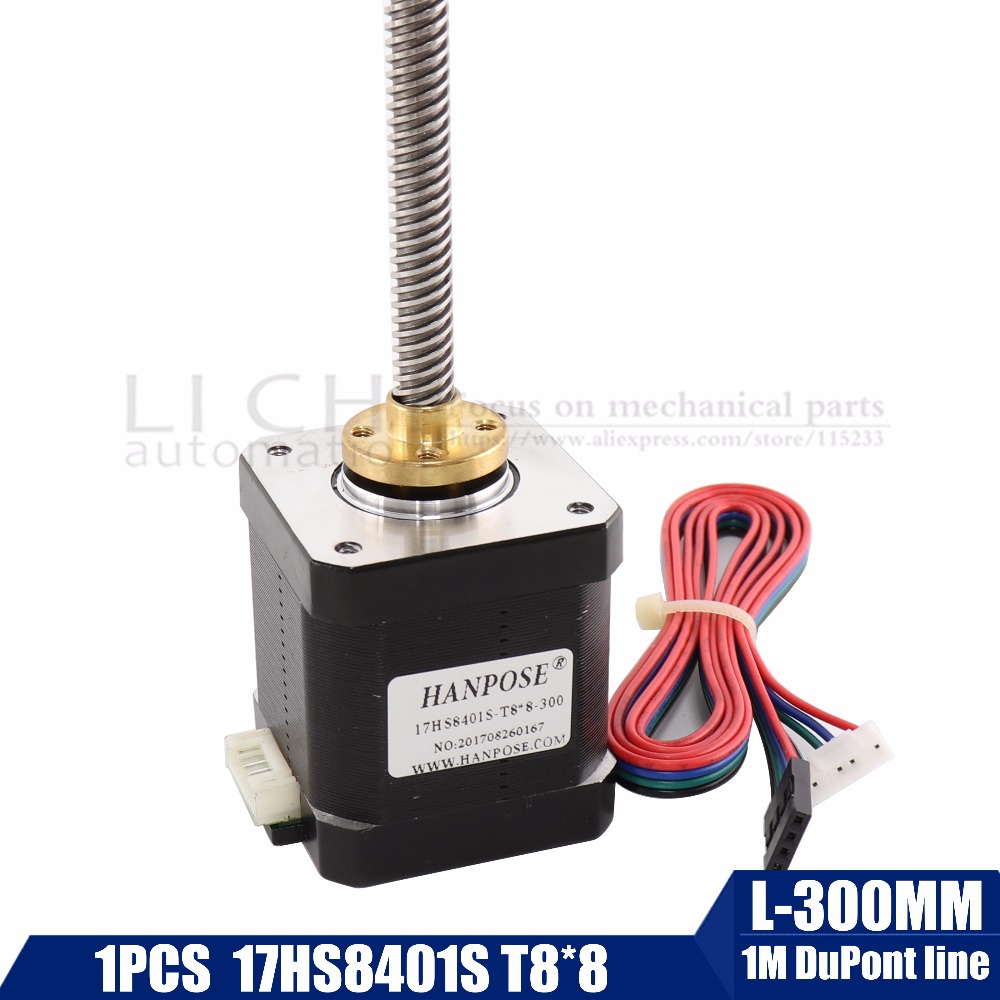 3d print motor nema17 stepper motor with T8 screw lead 8mm 300mm 42 motor 42BYGH mill cut cnc engraving machine 17HS8401 1pcs цена