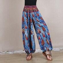 Новые модные длинные брюки для женщин эластичные с высокой талией повседневные летние весенние брюки с принтом свободный Национальный стиль