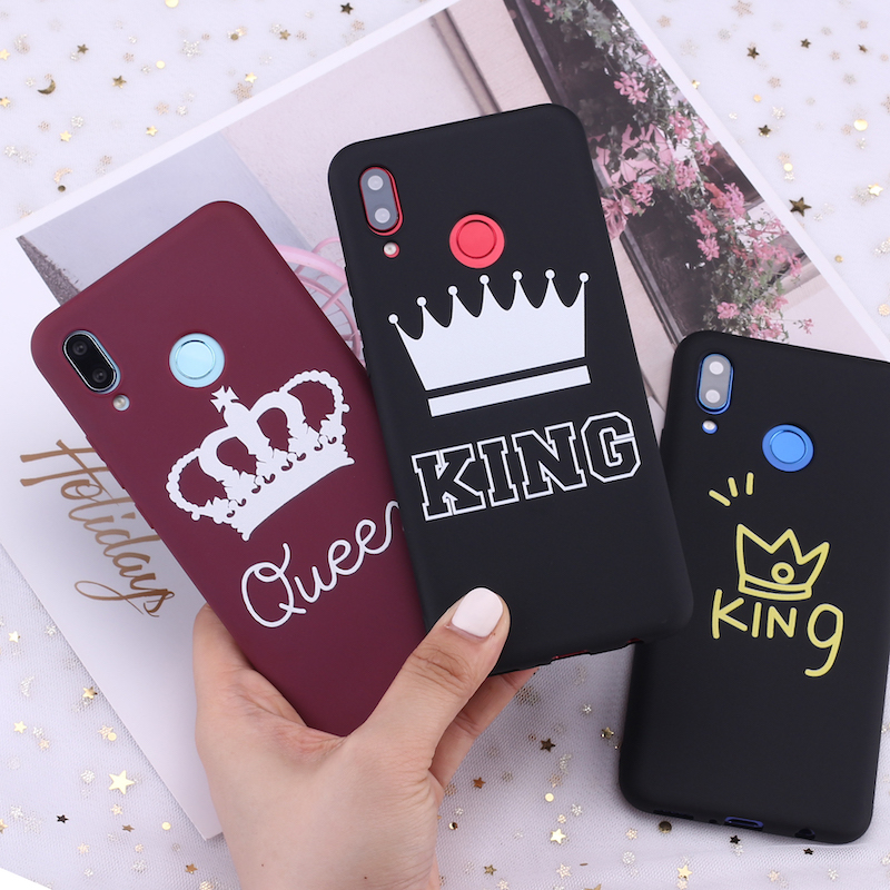 For Samsung S8 S9 S10 S10e S20 Plus Note 8 9 10 A7 A8 King and Queen Crowns Candy Silicone Phone Case Cover Capa Fundas Coque(China)