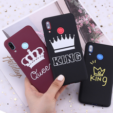 For Samsung S8 S9 S10 S10e Plus Note 8 9 10 A7 A8 King and Queen Crowns Candy Silicone Phone Case Cover Capa Fundas Coque