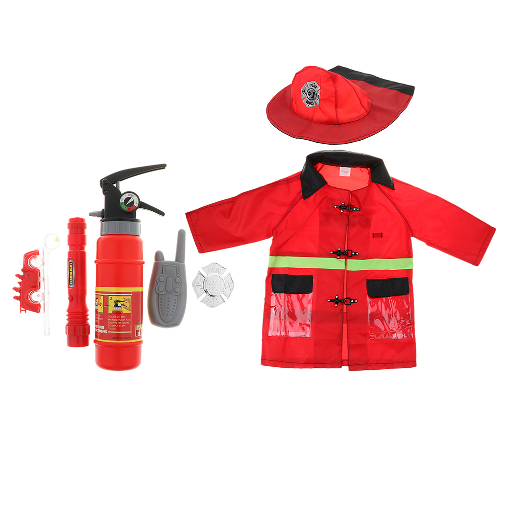 Adaptable Kids Boys Girls Fireman Halloween Cosplay Dress Up, Fireman Play Tools Set With Fire Suit And Fire Extinguisher Special Buy