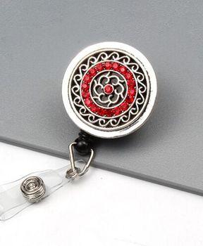 20pcs/lot New Fashion Metallic Red/Blue Rhinestone Badge ID Card Badge Holder Reel