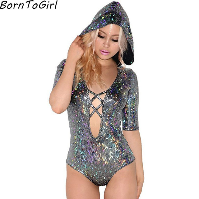 bd5a20f0dc BornToGirl Beach   Nightclub Colorful Sexy Deep V-neck Hooded Jumpsuits  Women Black White Half Sleeve Hollow Bodysuit Jumpsuit