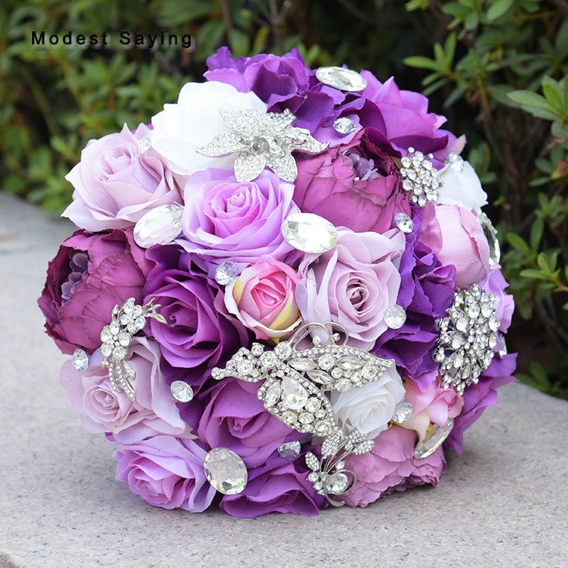 Average Cost Of Wedding Flowers 2014: Purple Artificial Flowers Rose Wedding Bouquets 2018 For