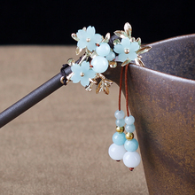 Ancient Hair Accessories Sticks Retro Hairwear Step shake Traditional Chinese Ethnic Jewellery Wooden Head Ornaments