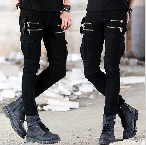 Men s Punk Rock Skinny Cargo Pocket Jeans Pants Men Black Denim Biker Jeans  With Zipper Side Pocket Men Pencil Pants-in Jeans from Men s Clothing on ... d6b44260a