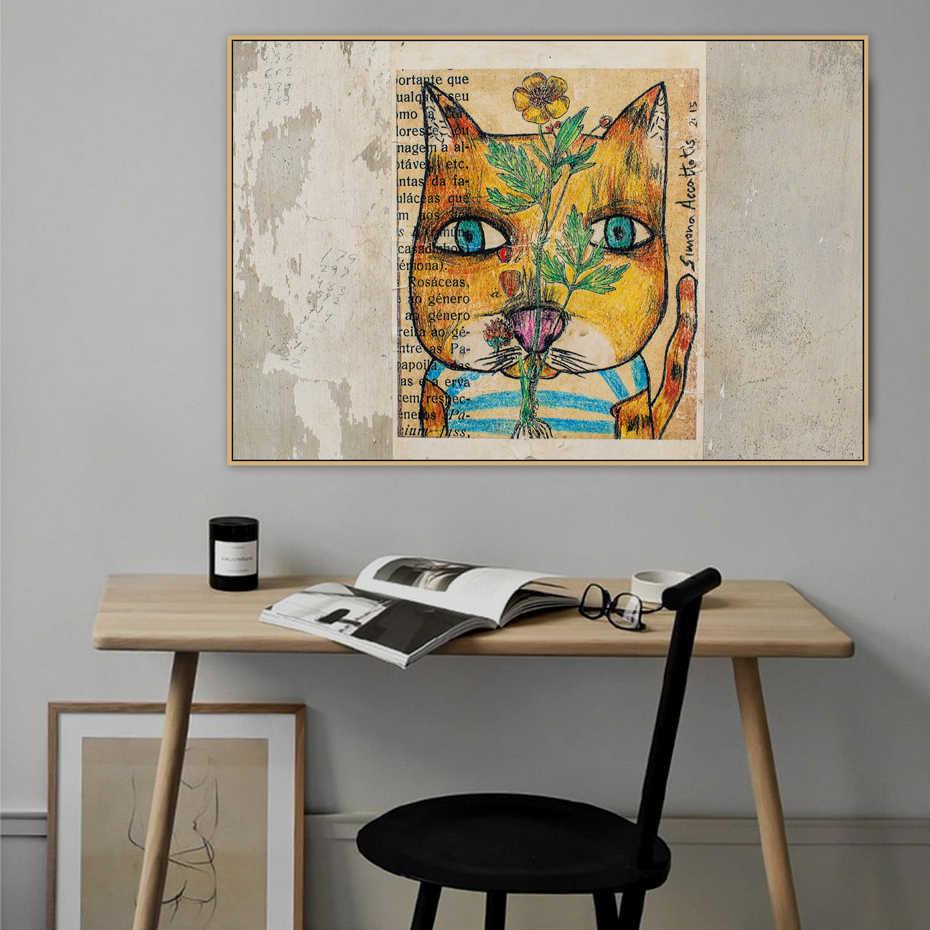 Винтаж абстрактный кошка граффити стрит-Арт холст плакаты с живописью Печать Поп Wall Art картины для спальни Гостиная домашний декор