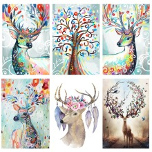 Fezrgea New DIY 5D Diamond Embroidery Cross Stitch Dream elk  Full Rhinestones Painting Mosaic Animal Pcitures