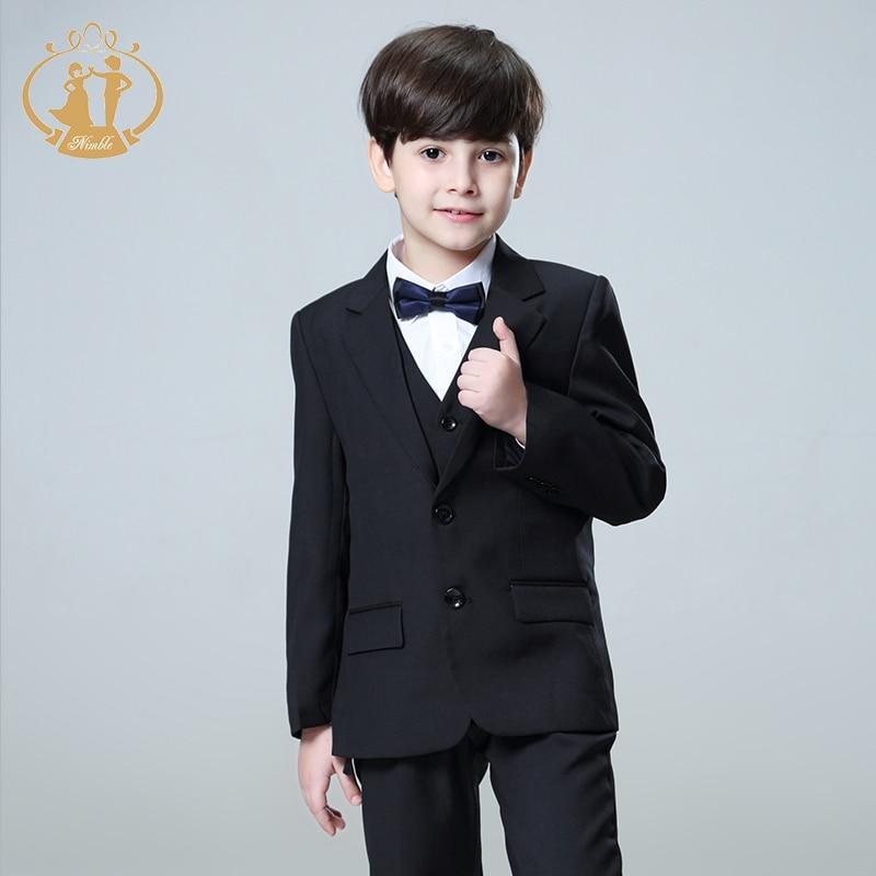 5 Pcs/Set Boys Suits for Weddings Kids Prom Suits Black Wedding Suits Kids Blazers Boys Clothing Set Boy Formal Classic Costume