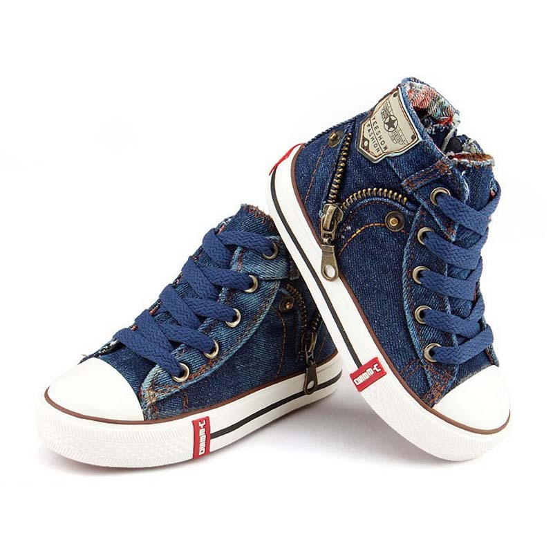 Details about Kids Canvas Sport Sneakers Blue Denim Breathable High Top Shoes For Boys Girls