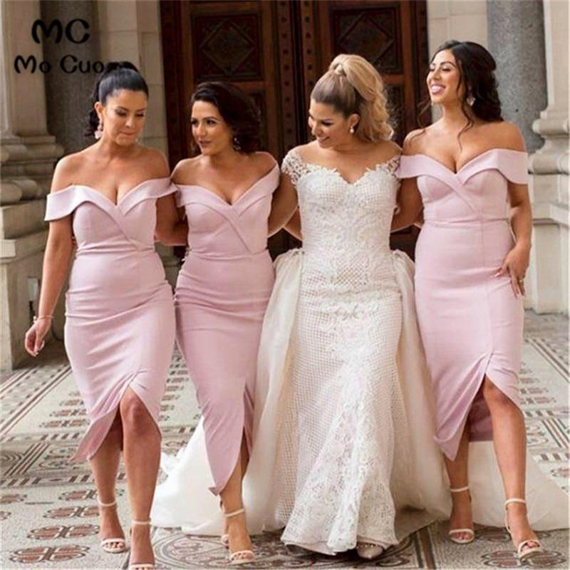2019 Blush Pink Off Shoulder   Bridesmaid     Dresses   Short Wedding Party   Dress   Elastic Satin Sheath Formal   Bridesmaid     Dress