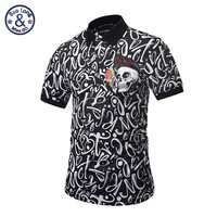 2017 Brand Famous New Men Lapel Polo Shirts British Skull Head Geometric Patterns Printing 3D Embroidery