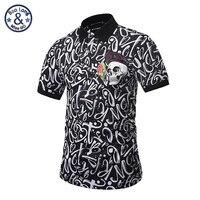 2017 Brand Famous New Men Lapel Polo Shirts British Skull Head Geometric Patterns Printing 3D Embroidery